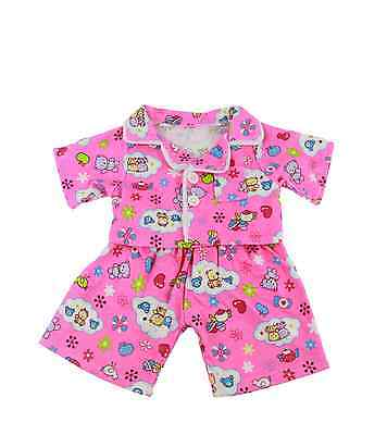"Pink Flannel Pyjamas outfit / clothes to fit 16"" build a bear factory bears"