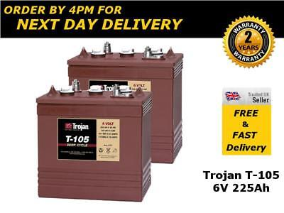 2x Trojan T-105 / T105 Batteries 6V 225Ah - Deep Cycle, 1200 Life Cycles