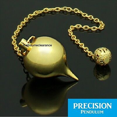 Foucault Golden Ball Metal Precision Pendulum + Chain Dowsing Divination Mystic