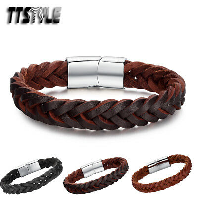 Mens TTstyle Real Leather 316L Stainless Steel Clasp Bracelet NEW