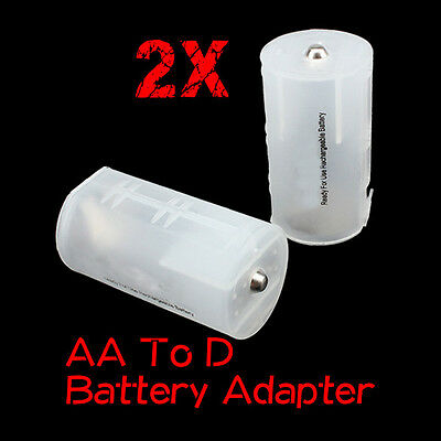 2 Pcs 2 AA to 1 D Converter Battery Case Adapter Converter Switcher Adapter Box