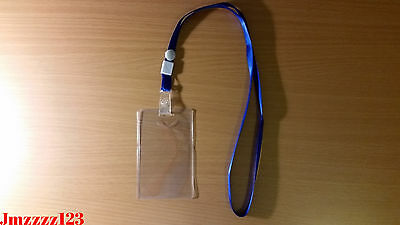 1 PC Clear Plastic Vertical ID Card Holder + 1 PC Lanyard Neck Strap