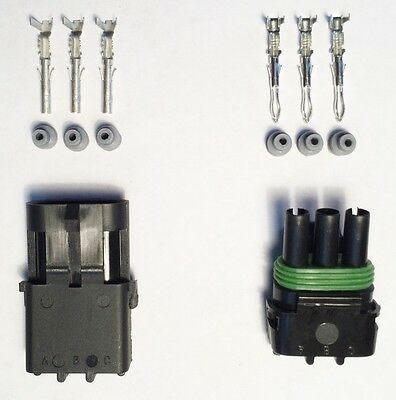 Genuine Delphi Weather Pack 3 Pin Sealed Connector Kit 18-14 GA
