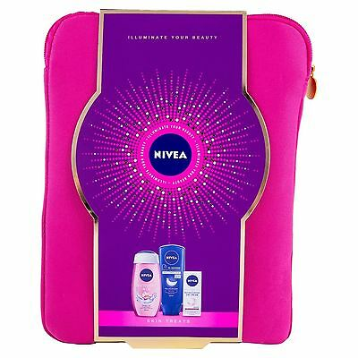 New Nivea Skin Treats 3-Piece With 10 Inch Tablet Case Gift Set Pink