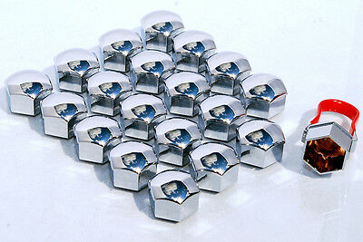 Push on caps, Car wheel nut and bolt covers 21mm Hex in Chrome pack of 20