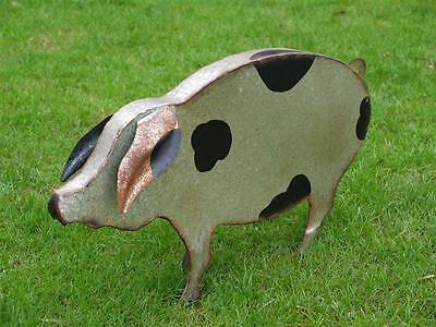 Vintage Metal Pig Outdoor Garden Sculpture Statue Animal Ornament Large 55cm