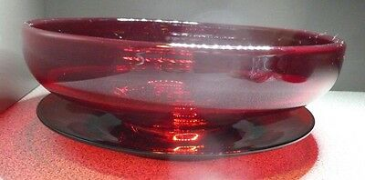 """Vintage Ruby Red Glass Serving Bowl 6 3/4"""" x 2 1/4"""" w/ Red Glass Saucer Married"""