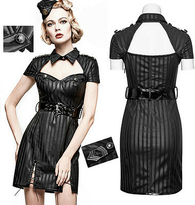 Robe gothique punk lolita pin-up militaire sexy cuir rayures burlesque PunkRave