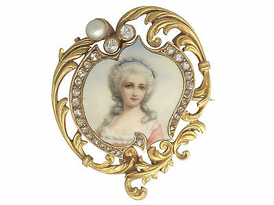 Antique 0.33 Ct Diamond & Pearl, Enamel and 18k Yellow Gold Miniature Brooch