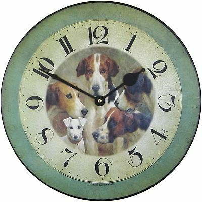 """36cm """"Four Kings & A Knave"""" Dog Vintage French Bistro Kitchen Wall Clock"""