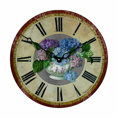 36cm Distressed Effect Flowers In Vase Vintage French Bistro Kitchen Wall Clock