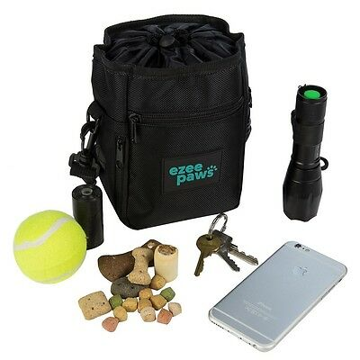 Ezee Paws Dog Walk and Treat Bag With Built-in Waste Poo Bags Dispenser 2 Rolls