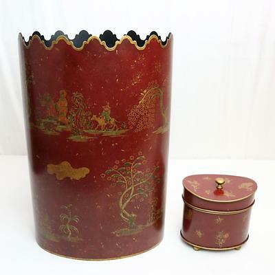 Bergdorf Goodman Made in Italy Tole Waste Basket Toiletry Box Red Chinoiserie
