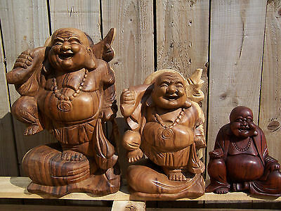 Fair Trade Hand Carved Made Wooden Chinese Buddhist Buddha Statue 20 30 40 cm.