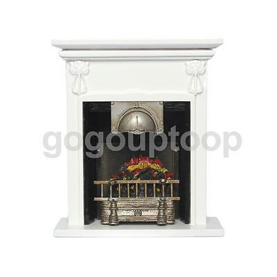 Dolls House Mini Furniture Wooden Fireplace with Fire in Gate Room Ornament
