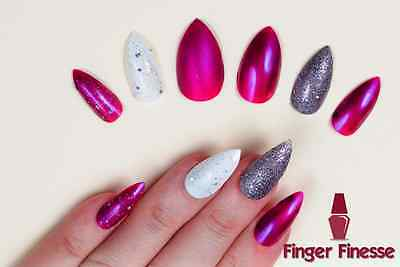 Hand Painted False Nails STILETTO Full Cover. Glitter Matte Pink Purple. UK