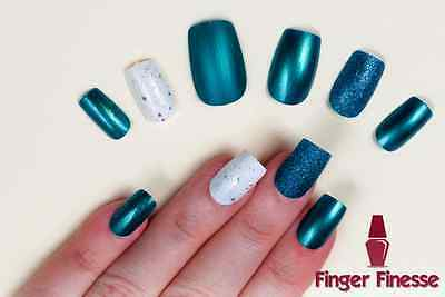 Hand Painted False Nails. Square Short Full Cover. Glitter Matte Gloss Teal UK