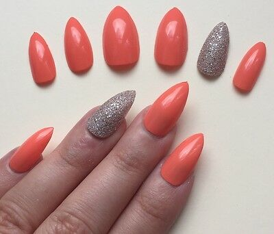 Hand Painted False Nails STILETTO Full Cover. Summer Coral Bronze. NEW COLOUR
