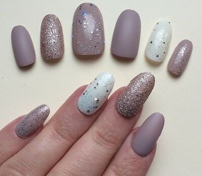 Hand Painted False Nails. ROUND OVAL Full Cover Glitter Matte Gloss - Nude. UK