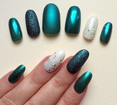 Hand Painted False Nails. ROUND OVAL Full Cover Glitter Teal Green. UK