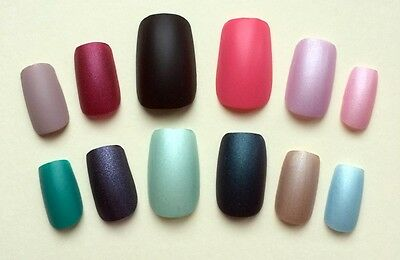 CHOICE OF Matte COLOUR 12 or 24 Hand Painted False Nails SQUARE LAST ONES UK