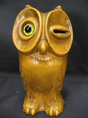 Haeger 8036 Glass Eye Winking Owl Bank Piggy Bank With Stopper Vintage