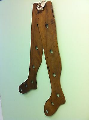 """A Rare Pair Of """"31 Inch"""" Wooden Stocking Stretcher/dryer Forms"""