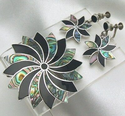 """Abalone Silver Pendant 16"""" Necklace Brooch Earrings Set Vtg Inlaid Black 925"""