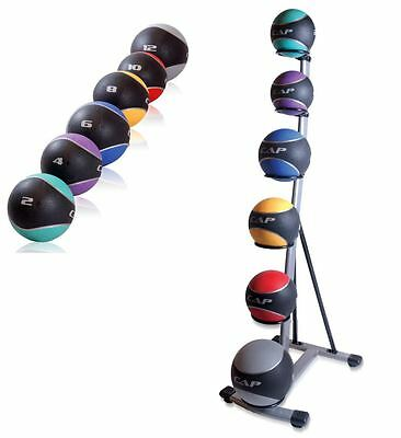 Medicine Ball Set Cap With Rack Rubber Of 6 Fitness Spinal Trainer Grip Exercise