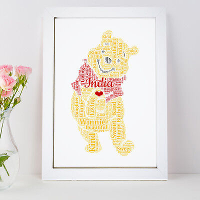 Personalised Word Art Winnie The Pooh Bear Picture Print Gift Frame