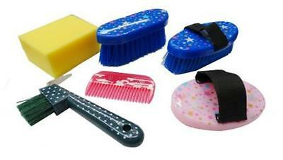 New Showman 6 Piece YOUTH Grooming Kit Stars & Polka Dots Hoofpick Brush Curry