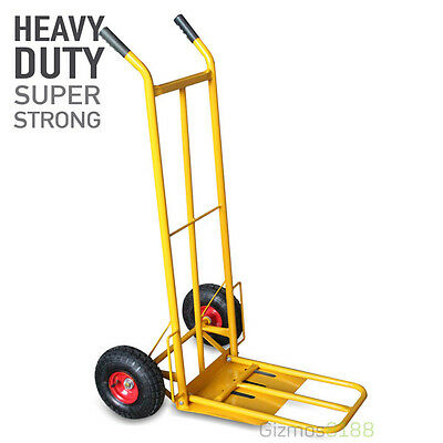 "Hand Sack Truck 600LB 270kg Industrial Trolley Pneumatic 10"" Extended Toe Plate"