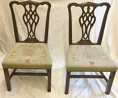 Pair Of 19Th Century Chippendale Pierced Splat Back Chamfered Leg Chairs
