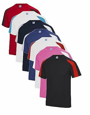 Childrens Boys Girls Kids Contrast Moisture Wicking Performance Athletic T-Shirt