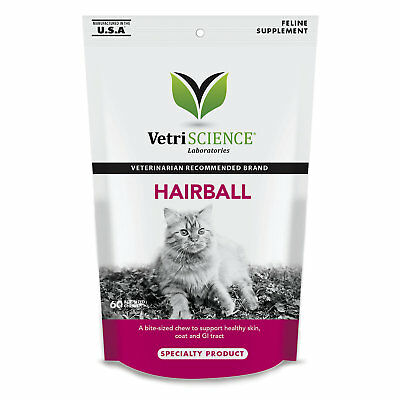 VetriScience Hairball Bite-Sized Cat Chews, 60 count Free Shipping
