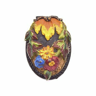 HANGING FLOWERS DOOR KNOCKER Cast Iron Hand Painted Antique Vtg Hubley