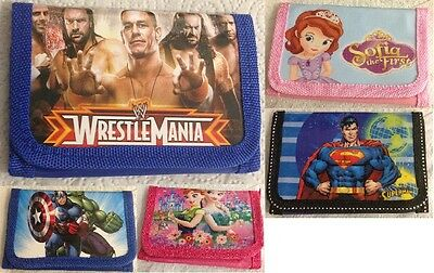 Childrens Boys And Girls Tri-Fold Zipped Canvas Wallets Coin Purse Uk Seller