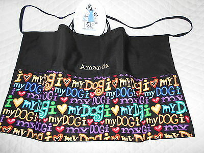 New Server 3 POCKET WAITRESS WAIST APRON LUV DOG W/WO Name Dog Train Lady Pizazz