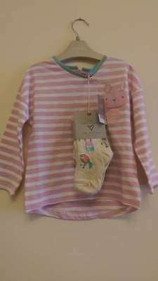 Next Girls Sweet Pea Range Pink Striped Top and Tights Set Outfit BNWT