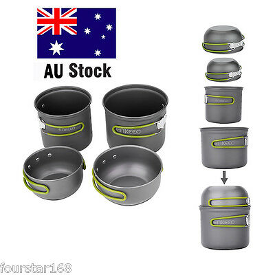 Enkeeo Ultralight Camping Cookware Pot Kit 4 Pics for Picnic Hiking Backpacking