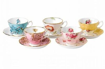 NEW Royal Albert 100 Years 10 Piece Tea Cup & Saucer Set 1950-1990