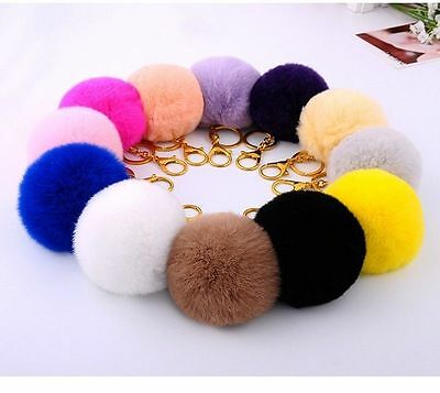 Rabbit Fur Ball PomPom Cell Phone Car Keychain Handbag Charm Key Ring 8 CM