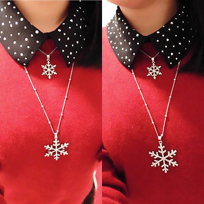 Fashion Womens Snowflake Crystal Necklace Pendant Chain Christmas Jewelry Gift