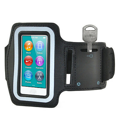 Black Sports Gym Jogging Black Armband Case Cover for Apple iPod Nano 7 7th F6