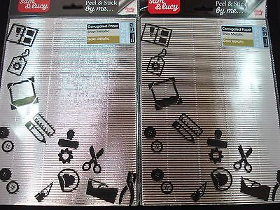 2 x PK Adhesive Metallic A4 Corrugated Paper Card Making Craft DIY FREE POSTAGE