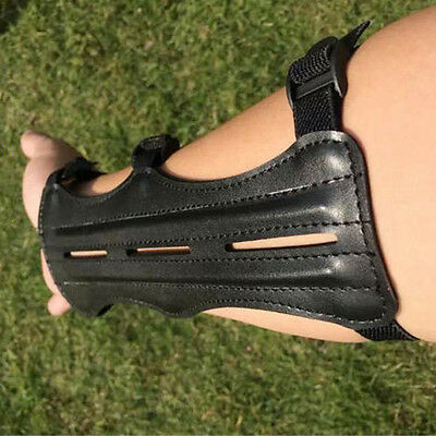 Magideal Cow Leather Shooting Archery Arm Guard Bow Protect 3 Straps Black DB
