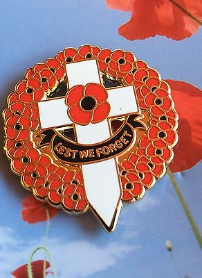 """Poppy Wreath with Cross """" Lest We Forget"""" Remembrance Day Poppy badge * NEW 2016"""