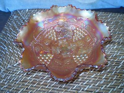 Vintage  Carnival Glass bowl leaf & grape feature, scalloped edges Collectable