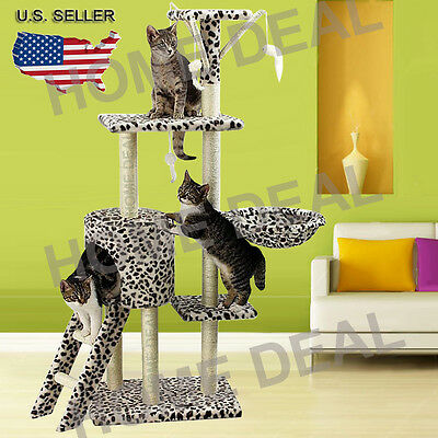 "New 55"" Cat Tree Tower Condo Scratcher Furniture Kitten Pet Play House Hammock"
