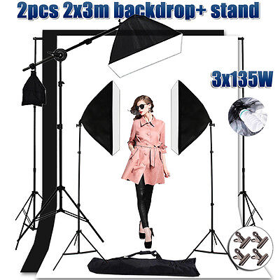 Photo 2x3m Backdrops Support Set Video Softbox Lighting Boom Arm Light Stand Kit